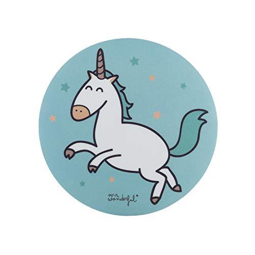 Mr. Wonderful Alfombrilla para Ratón Redonda con Diseño de Unicornio sobre fondo Azul con Estrellas