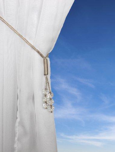 Tsar - Alzapaños de gasa con cuentas de cristal, color crema