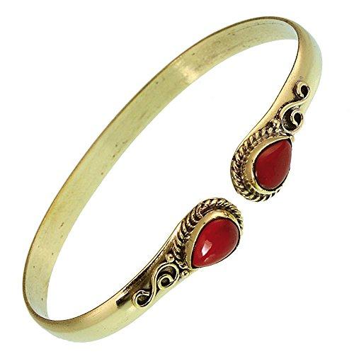 Chic-Net Messing Armreif golden Jaspis rot Spirale Tropfen Flechtrand nickelfrei verstellbar antik Tribal