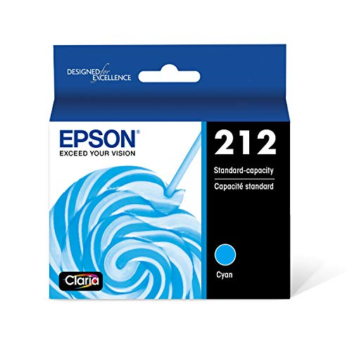 EPSON T212 Claria Ink Standard Capacity Cyan Cartridge (T212220-S) for Select Epson Expression and Workforce Printers