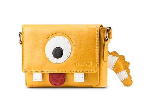 LEABAGS Kids Kindertasche Leder Umhängetasche für Mädchen und Jungen - Fred - Gelb