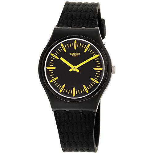 Swatch Originals Giallonero Black Dial Silicone Strap Unisex Watch GB304