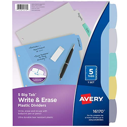 Avery 5-Tab Plastic Binder Dividers, Write & Erase Multicolor Big Tabs, 1 Set (16170) Pack of 2