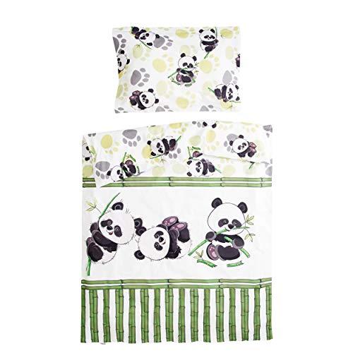 Bambou panda - Pati'Chou 100% Coton Parure Linge de lit pour bébé et enfant (Taie d'oreiller et Housse de couette 120x150 cm)