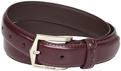 Stacy Adams Men's 40 MM Pinseal Leather Belt with Brushed Nickel Buckle