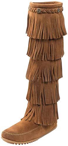 Minnetonka Damen 5-Layer Fringe Mokassin Stiefel, Braun (Dusty BrownDusty Brown), 38 EU