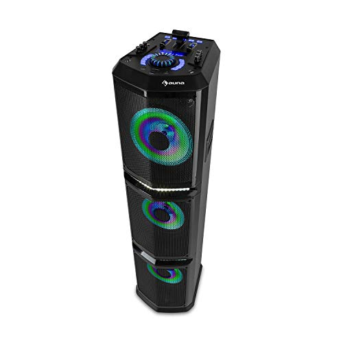 auna Clubmaster TripleBeat Party-Station, Leistung: 250 Watt max, XMR Bass Technology, 3 x 10 (25,5 cm) Subwoofer, Bluetooth-Funktion, 2 x USB-Port, FM/UKW Radio, MP3-fähig, LCD-Display, schwarz