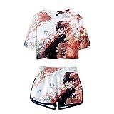 EDMKO Mujer Traje Deportivo My Hero Academia Casual T-Shirt,Comics Anime Camiseta y Pantalones 3D Gráfico Impresion Todoroki Shoto Cortos Verano Traje Deportivo 2 Piezas Set,Blanco,XL
