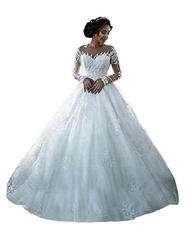 ONLYFINE Women's Vintage Elegant Off Shoulder Ball Gowns Wedding Dresses Lace Applique Bridal Gown with Sleeves Style1 White 14