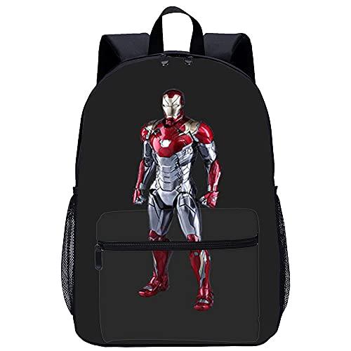 LGBCK Zaino 3D scuola Iron Man Borsa da scuola a cartoni animati stampata in 3D, adatta per ragazzi, studenti delle scuole elementari e medie
