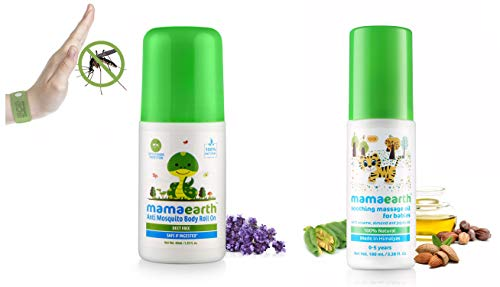 Mamaearth Soothing Massage Oil 100% Natural Oils For Babies And Kids,100Ml And Mamaearth Natural Anti Mosquito Body Roll On 40Ml. Deet Free. Protects From Dengue, Malaria & Chikun
