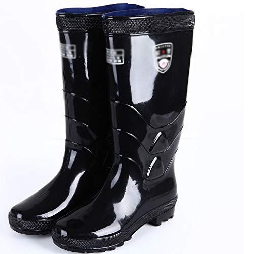 VAN+ Leather Mens Rain Boots Adulti Insulated Antiscivolo Lavoro Impermeabile Stivali all'aperto Stivali Lunghi per Snow Pioggia Fango Giardino Pesca Caccia Farm,Nero,42
