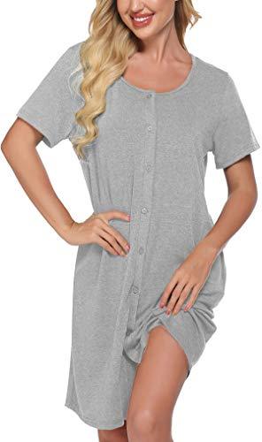 Meaneor - Camisón de lactancia para mujer, para embarazadas, pijama de verano, ropa de maternidad, camisón con botones continuos gris claro L