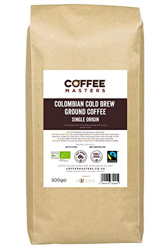 Coffee Masters Cold Brew gemahlener Kaffee 500g - kolumbianischer Bio-Fairtrade - Neu