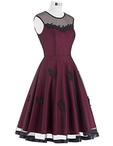 50s Knielang Rundausschnitt Sommerkleid petticoat Kleid Ohne Arm - 5