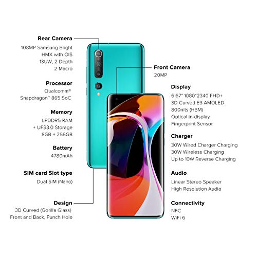 Mi 10 (Coral Green, 8GB RAM, 256GB Storage) - 108MP Quad Camera, SD 865 Processor, 5G Ready