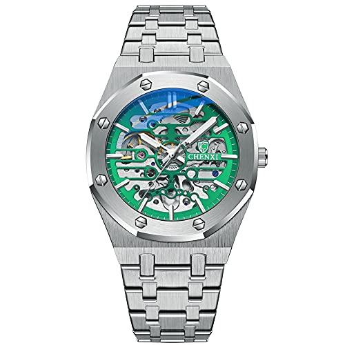 ZFAYFMA Diseño mecánico Bezel Black Watch Reloj de los Hombres Reloj de Lujo Hombre Automático de Acero Inoxidable Negocio Marco, 30M Impermeable, Luminoso, Regalo de vacaci Green