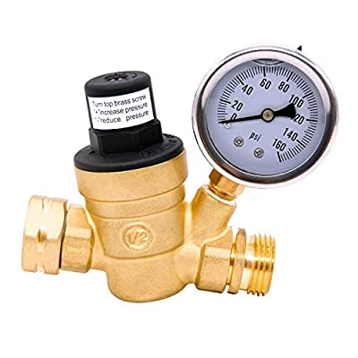 AccuMeter 3/4 Lead-Free Brass Water Pressure Regulator with Gauge Adjustable RV Pressure Reducer from Accumeter