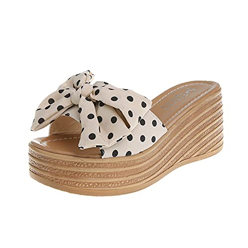 Bowknot Espadrille Wedge Sandals for Women Summer Casual Polka Dots Platform Slide...
