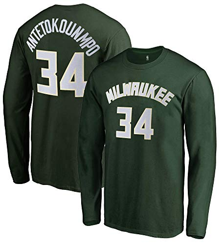 Outerstuff NBA Youth Game Time Team Color Player Name and Number Long Sleeve Jersey T-Shirt (Medium 10/12, Giannis Antetokounmpo Milwaukee Bucks)