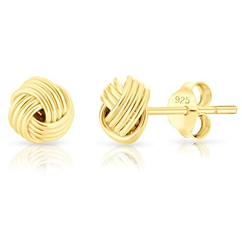 DTPsilver Orecchini a Perno/Pressione PICCOLI - Argento 925 Placcato in Oro Giallo - Forma di Nodo celtico - Diametro: 7 mm