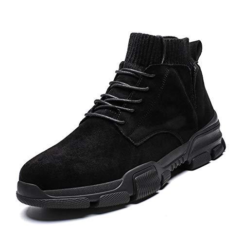 GuoQiang Zhou Combat laarzen for mannen sportschoenen ronde neus Lace up Suede Sewing Socks Collar Warm Comfort voering anti-slip ademende korte buis (Color : Brown, Size : 39 EU)