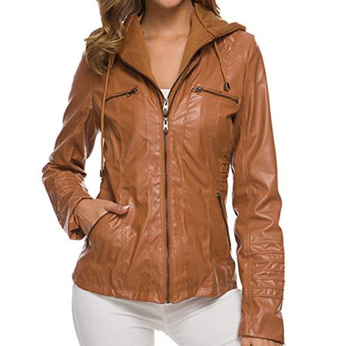 Katenyl Chaqueta de cuero sintético con cremallera con capucha desmontable para mujer Ropa de calle punk Moda Color sólido Abrigo de motocicleta de talla grande 5XL