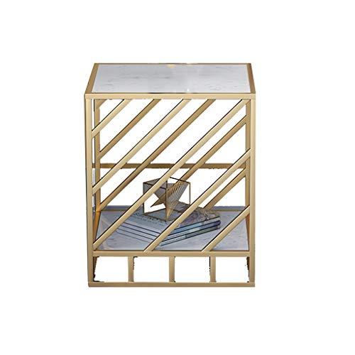 LSX-salontafel Kleine koffietafel, Hoektafel Bijzettafel Nordic Eenvoudige Sofa Bijzettafel Smeedijzer Goud Vierkant Marmeren bijzettafel