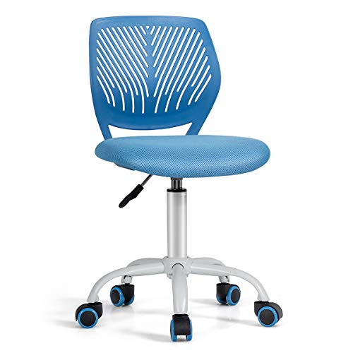 COSTWAY Kids Computer Desk Chair, Low-Back Task Study Chairs with PU Casters, Gas Lift, Adjustable and Swivel Mesh Chair for School Home Office (Blue)