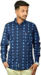 Darien Range Blue Block Printed 100% Cotton Slim Fit Casual Shirt