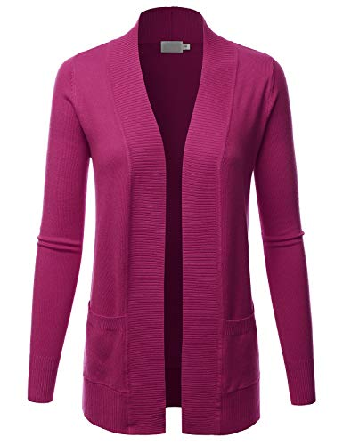 LALABEE Women's Open Front Pockets Knit Long Sleeve Sweater Cardigan-Magenta