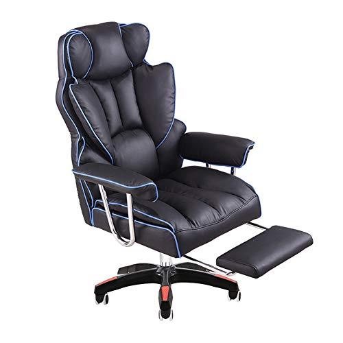 Sillón de masaje reclinable ajustable de alta calidad en piel de vacuno, silla de juego de ordenador, oficina Boss Chair Lift giratoria, silla de almuerzo y reposapiés