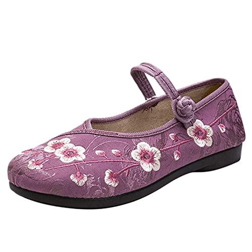 Mujer Zapatos Caminar Bailando Bordado Vintage Flats