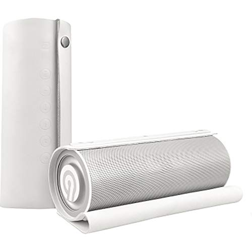 NINETEC Impulse 20 Watt Bluetooth NFC AUX Speaker Lautsprecher 3D-Sound Freisprechfunktion Akku Soundsystem Sound Box Weiß aus Echtleder