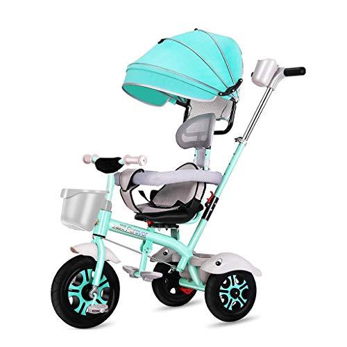WENJIE Carro Infantil Bicicleta Triciclo Coche De Bebé De 1-3-6 Años Cochecito De Bebé Dispositivo De Valla De Seguridad Regalo De Cumpleaños del Niño (Color : Green)