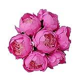 XNBZW Fleur Artificielle Bouquet De Mariage Mariée Fleur De Soie Artificielle Bouquet Cristal Rose Perle De Demoiselle d'honneur Fausse Fleur Rose Vif B
