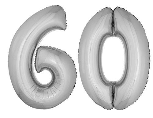 Folienballons Luftballon-Set XXL Zahl Geburtstag 60 Jahre silber Party Dekoration
