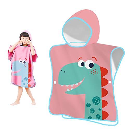 YZCX Toalla de Playa para Niños Niñas Toalla de Baño con Capucha Bata de Baño de Microfibra de Dibujos Animados para Bañarse Nadar (Dinosaurio Rosa)