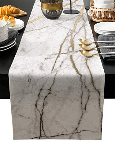 Marble Table Runner-Cotton linen-Long 72 inche White Gray Gold Dresser Scarves,Texture Tablerunner for Kitchen Coffee/Dining/Sofa/End Table Bedroom Home Living Room,Scarfs Decor for Holiday Dinner
