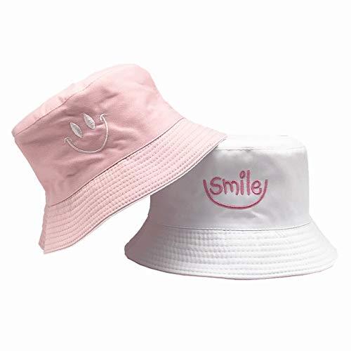 SMILE Bucket Hat Double Sided Bucket Hat Smiling face Unisex Fashion Cap Hip Hop Gorro Men Summer Cap-Smiley-Pink-White
