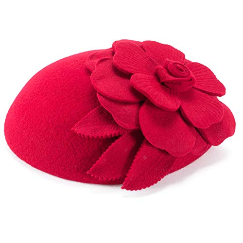 Flower Womens Dress Fascinator Wool Pillbox Hat Party Wedding A083 (Red)