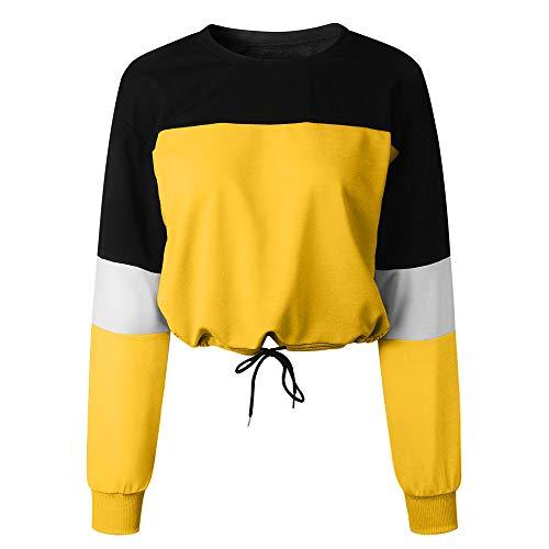 Damen Teenager Mädchen Sweatshirt, Mode Langarm Crop Tops Langarmshirt Hoodie Kapuzenpulli Bauchfreier Pulli Streetwear Bluse Kapuzenpullover Sportoberteile