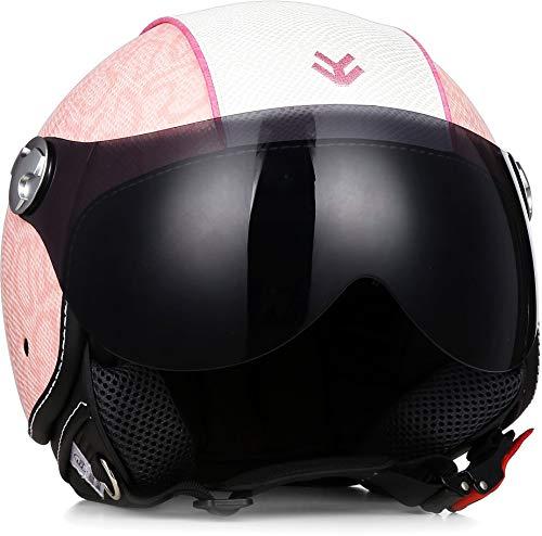 ARMOR Helmets AV-84 Motorrad-Helm, ECE Visier Leather-Design Schnellverschluss Tasche, XL (61-62cm), Pink/Pinky