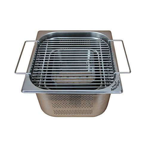 Rogge´s RelaxGrill ® – Einbaugrill aus Edelstahl für Gartentisch und Außenküche – gemeinsam Essen am Holzkohlegrill, wie beim Raclette oder Fondue mit Freunden oder der Familie