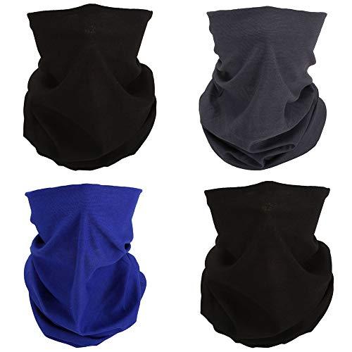 ACBungji 4er Multifunktionstuch Gesichtsmaske Set Motorradmaske Blume Muster Sturmmaske Maskewboard Paintball Fahrrad Bergsteigen Trekking Skateboarden Angeln(Einfarbig)