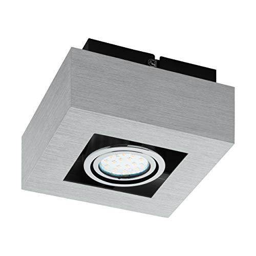 Preisvergleich Produktbild EGLO Deckenleuchte,  Aluminium,  GU10,  Alu-gebürstet / Chrom / Schwarz,  14 x 14 x 8.5 cm
