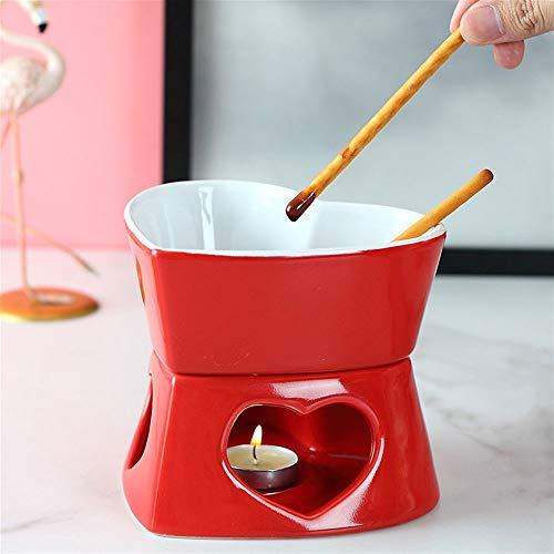 WarmHome En Forma de corazón de Hielo Crema Caliente cerámica Olla de fusión Creativa Mini pote de Queso del Chocolate de Queso Hot Pot Set