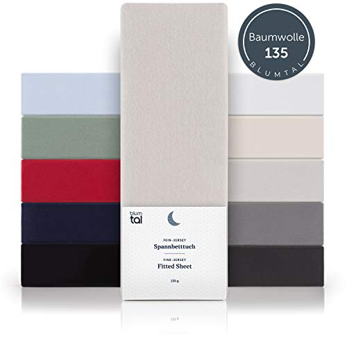 Blumtal Basics Spannbettlaken 140x 200 cm - 100% Baumwolle Bettlaken, bis 20cm Matratzenhöhe, Moonlight-Grau