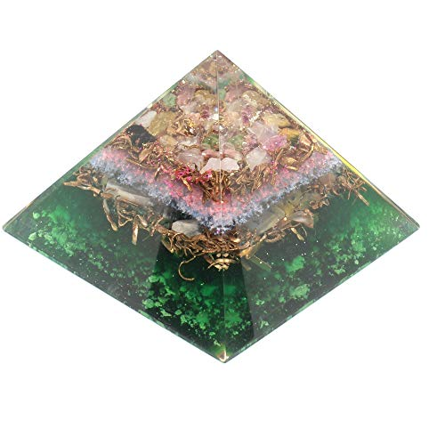 Orgone pyramid with orgone energy- healing crystal based Multi tourmaline Orgonite Pyramid for Positive Energy E-emission Protection