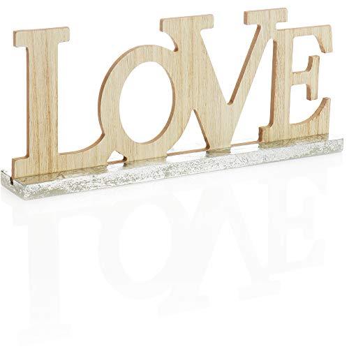 com-four® Soporte Decorativo con Aspecto de Madera - Letras Love en la Base de Madera - Letras Decorativas para el Soporte - 29,5x12,5x4,5cm (001 Pieza - Love)